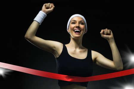 Athlete celebrates victory photo