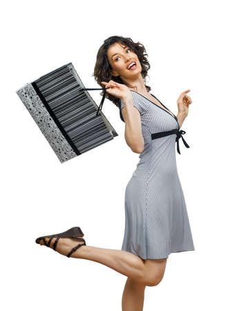 woman shopping bags: Beautiful woman with shopping bags in hands