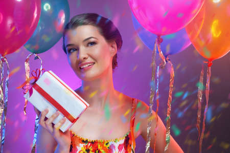 birthday adult: Pretty girl with color balloons Stock Photo