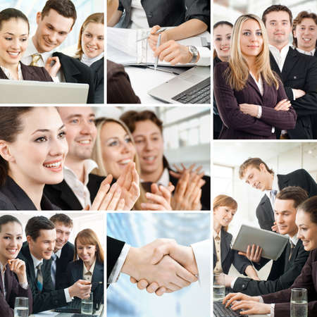 business collaboration: team of successful smiling young business people
