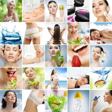 masaje deportivo: Collage sobre alimentaci�n saludable y cuidado de la salud