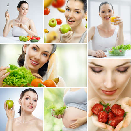 A beautiful slender girl eating healthy food Stock Photo - 9998575