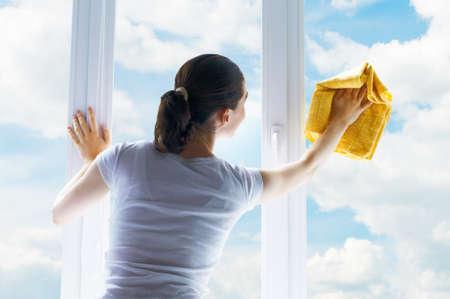 young woman washing windows Stock Photo - 10473907