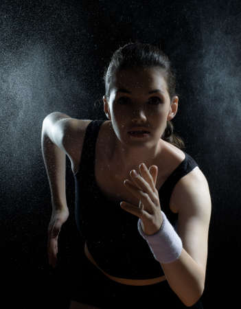 girl in sport on the night photo