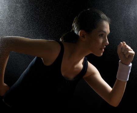 sweat: girl in sport on the night