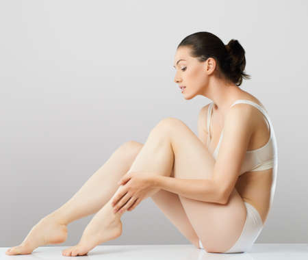 body care: she cares about her body Stock Photo