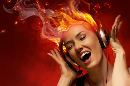 girl headphones: girl with headphones in the club