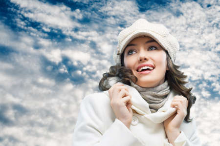 a beauty girl on the sky background Stock Photo