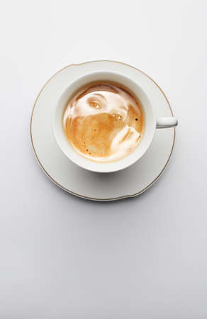 latte art: cup of coffee with art Stock Photo