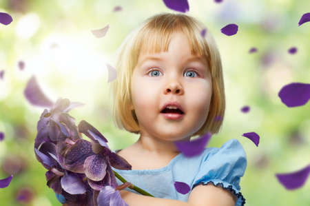 surprise face: beauty flower girl on the blurry background Stock Photo
