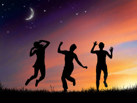 happy people on the sky background