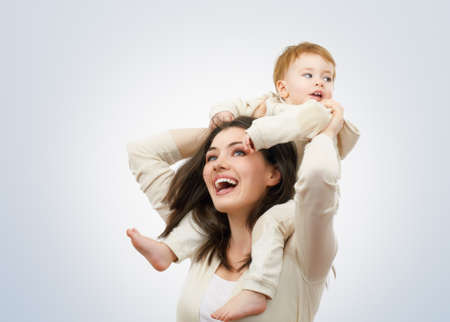 parents baby: happy mother holding her baby