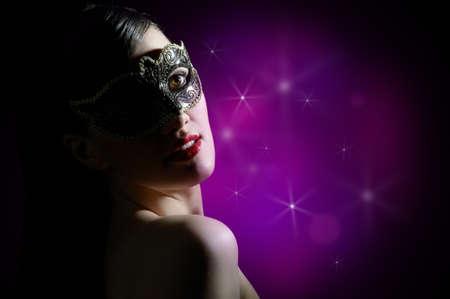 femme masqu�e: jolie fille en mascarade masque Banque d'images