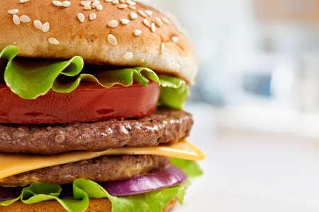 hamburguesa: Hamburguesa sabrosa de cerca