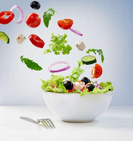 light diet: Fresh vegetarian salad on the plate