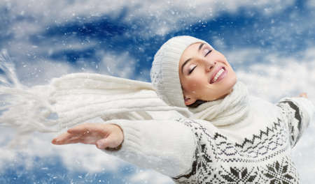 beauty girl on the snow background Stock Photo