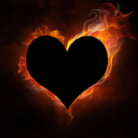 burning love: bright flamy symbol on the black background