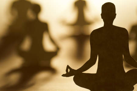 yoga meditation: paper people are doing different activities