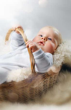 baby boy birth: baby lying in the basket