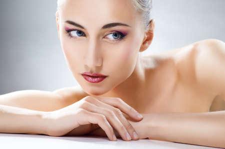 woman beauty: beauty woman on the grey background Stock Photo