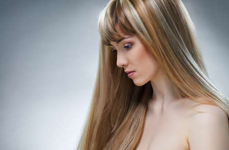 beauty woman with long hair photo
