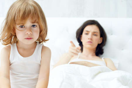 punish: mother scolds her child Stock Photo