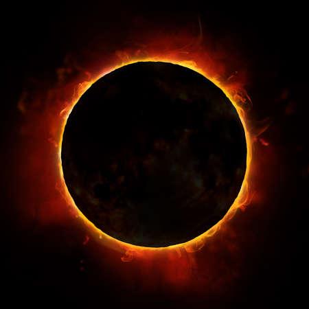 검은 색 바탕에 태양 일식