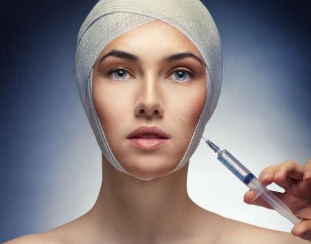 injection woman: pretty woman getting botox injection