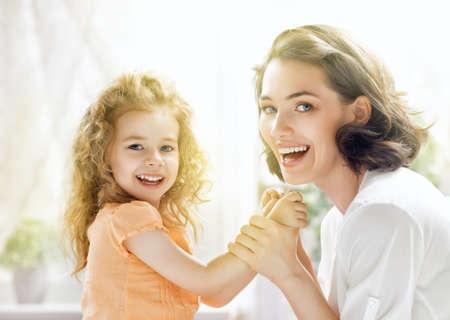 beautiful smile: happy mother and child together