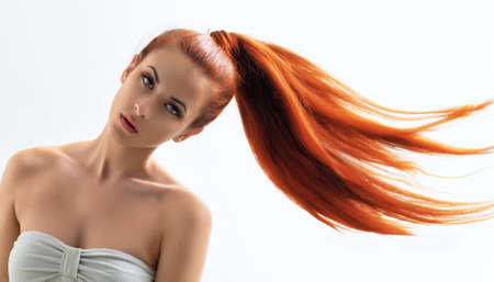 ponytail: beauty woman with long hair