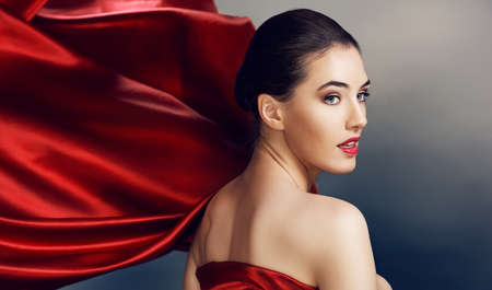 woman scarf: beautiful girl with red scarf