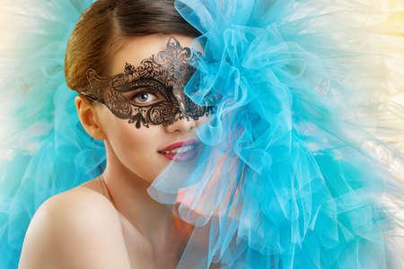 cute girl in masquerade mask Stok Fotoğraf
