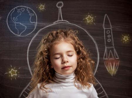 astronomie: Schönheit Kind an der Tafel