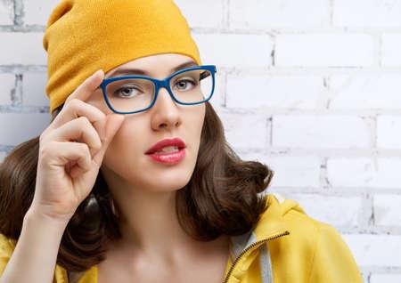 Beauté, femme portant des lunettes Banque d'images - 37042153