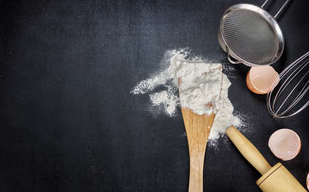 Flour, eggs, and cooking utensils