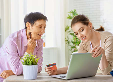 using tablet: a women doing online shopping Stock Photo