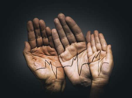 salud: jóvenes y adultos de palma Foto de archivo