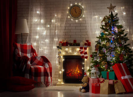 christmas fireplace: A beautiful living room decorated for Christmas. Stock Photo