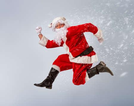 Portret van de grappige Kerstman. Stockfoto
