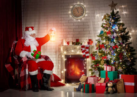 fireplace: Portrait of funny Santa Claus