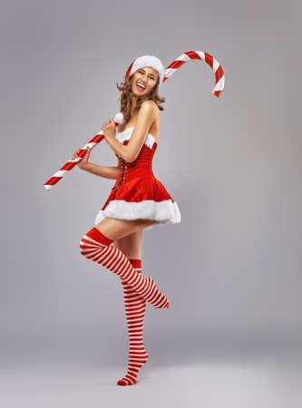 sexy santa girl: Beautiful sexy woman in Santa Claus clothes