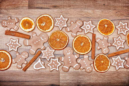 ginger bread man: Gingerbread on wooden background