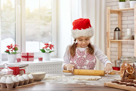 little girl cooking Christmas biscuits