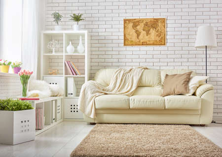 bright: modern living room in bright colors Stock Photo