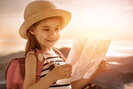 cute little girl travels Stock Photo