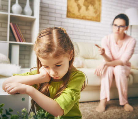 the education of the child. mother scolds her child girl. family relationships Zdjęcie Seryjne - 51789366