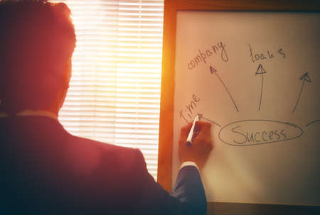 board marker: Businessman writing his ideas on white board. Hand with marker. Stock Photo