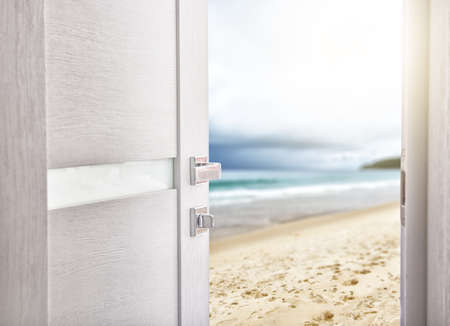 beach access: open door with access to the beach. the concept of leisure, travel and holidays Stock Photo