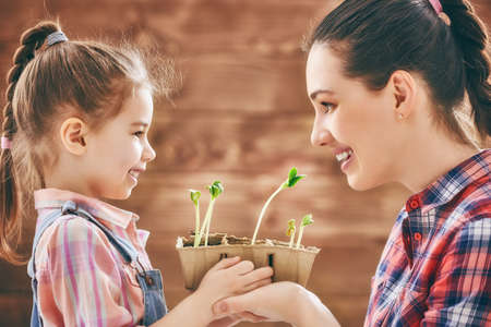 sprout growth: Cute child girl helps her mother to care for plants. Happy family engaged in gardening in the backyard. Mother and her daughter watch as a growing sprout. Spring concept, nature and care. Stock Photo