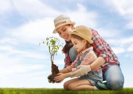 Moeder en haar kind meisje installatie sapling boom. Voorjaar concept, natuur en zorg. Stockfoto